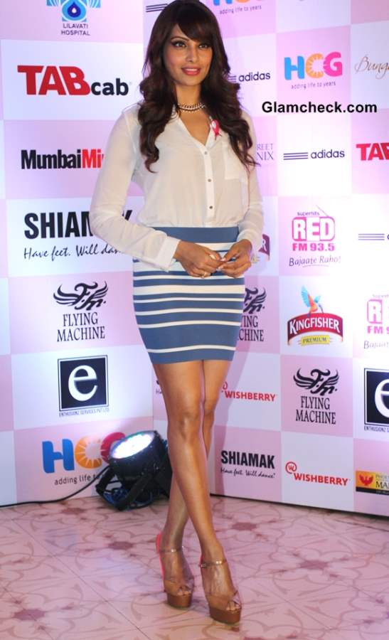 Bipasha Basu in a Blue Bodycon and Pink Heels for Breast Cancer Awareness