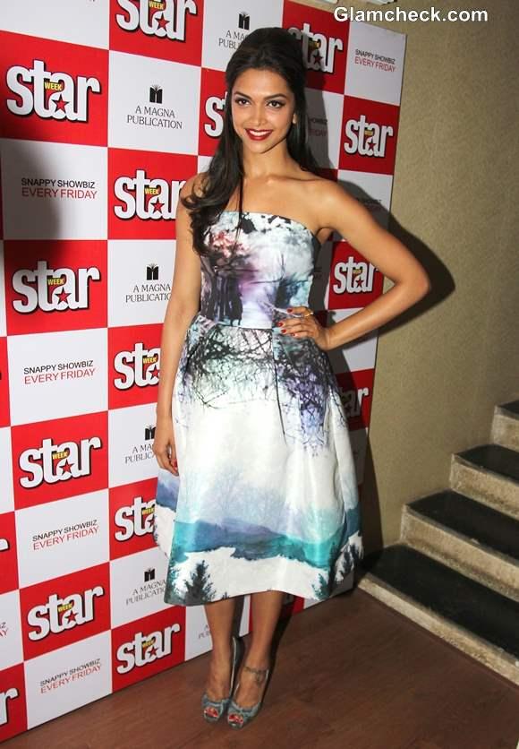 Deepika Padukone Unveils Star Week Magazine Diwali Edition in Blue Dress