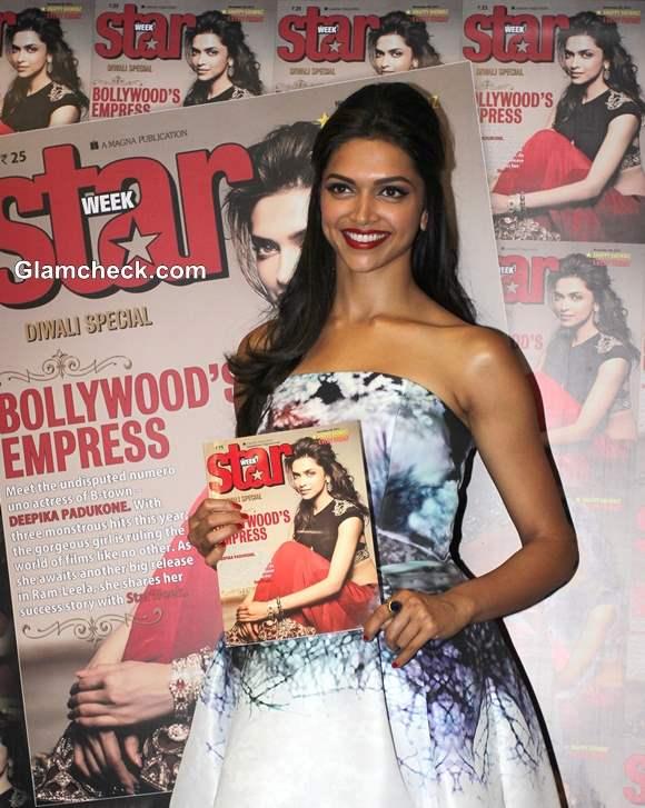Deepika Padukone Unveils Star Week Magazine Diwali Edition in Strapless Blue Dress