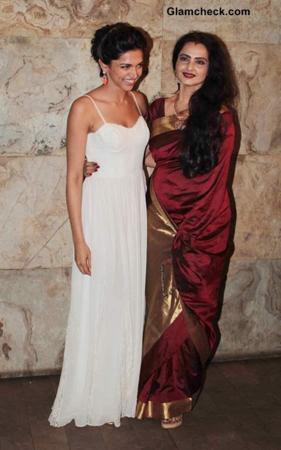 Deepika Padukone and Rekha at Ram Leela Screening
