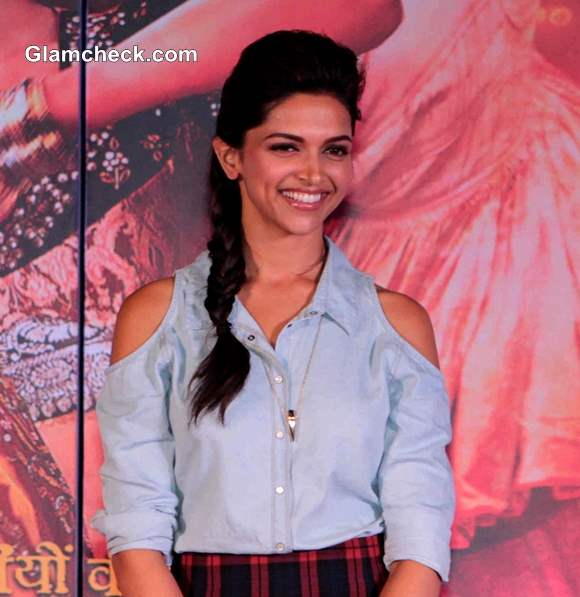 Deepika Padukone in Cut-out  Denim Shirt