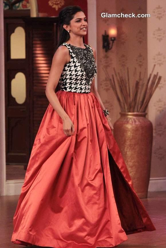 Deepika Padukone in Orange Long Skirt at Comedy Nights with Kapil