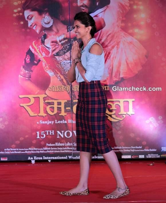 Deepika Padukone in  Plaid Skirt and Denim Shirt