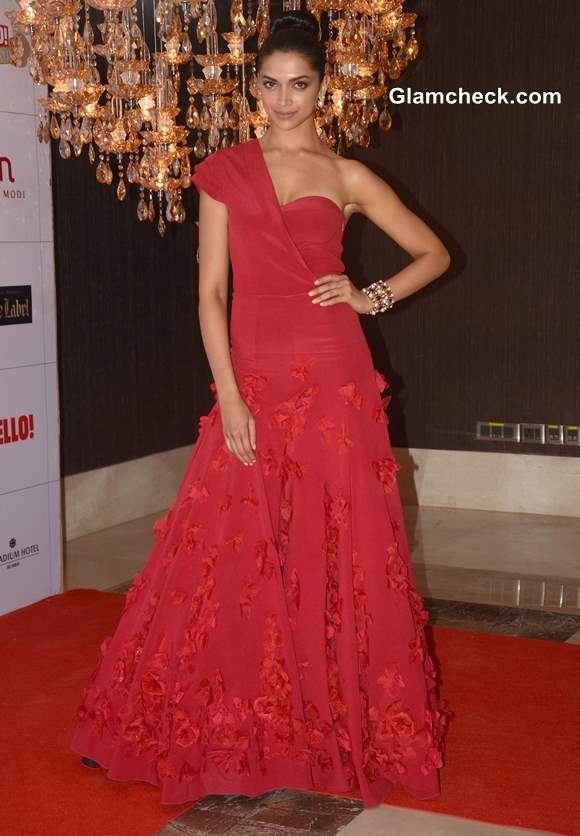 Deepika Padukone in Red Evening Gown at Hello Magazine Awards 2013