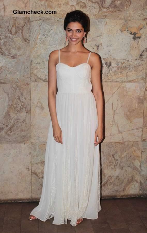 Deepika Padukone in White Gown at Ram Leela Screening