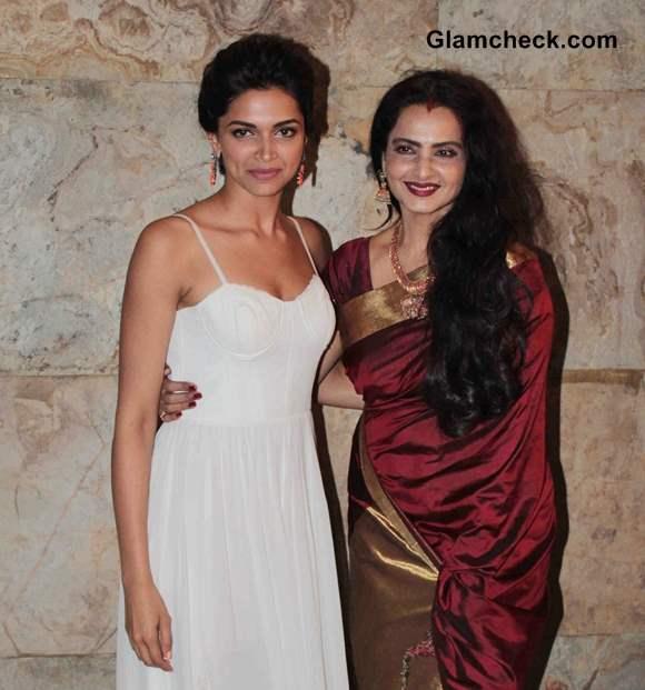 Deepika Padukone with Rekha at Ram Leela Screening