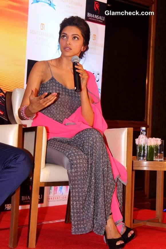 Deepika in a Grey Salwar Kameez Promotes Ram-Leela in New Delhi