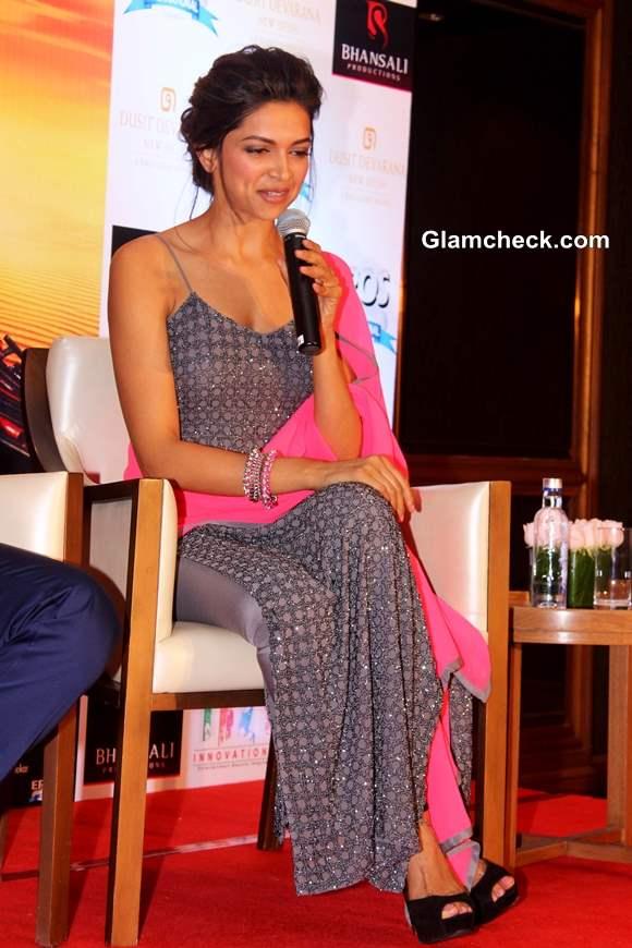 Deepika in a Grey Salwar Kameez Ram-Leela Promotions in New Delhi