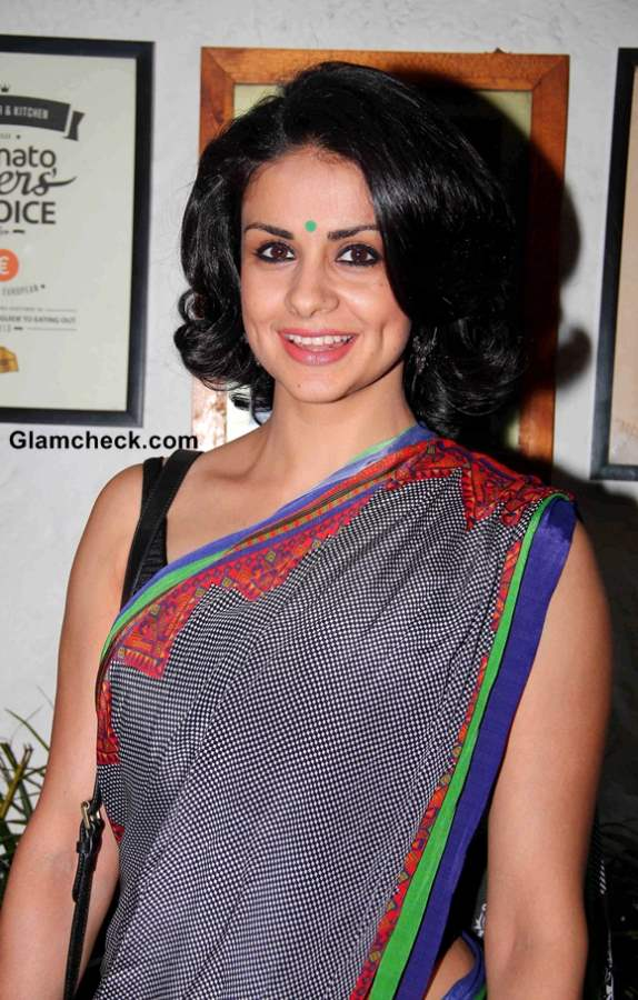 Gul Panag in Grey Sari at the Launch of book Soldier and Spice in Mumbai