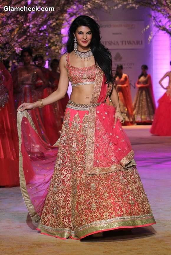 Jacqueline Fernandez 2013 India Bridal Fashion Week Jyotsna Tiwari