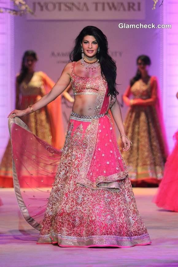 Jacqueline Fernandez for Jyotsna Tiwari at 2013 India Bridal Fashion Week