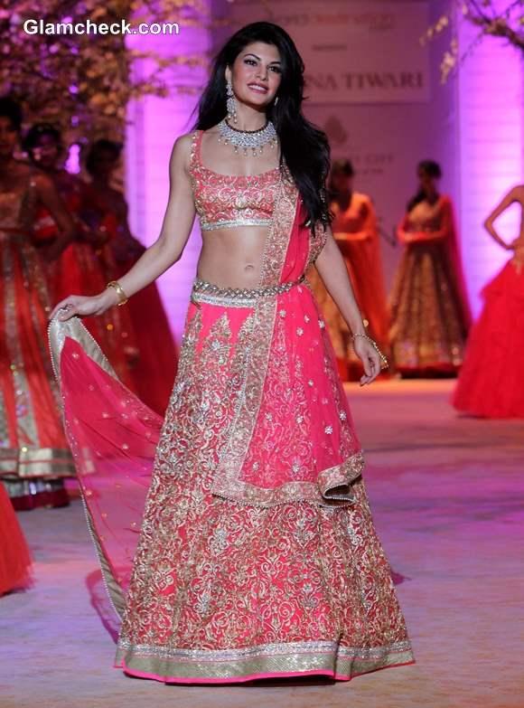 Jacqueline Fernandez in Pink Lehenga 2013 India Bridal Fashion Week