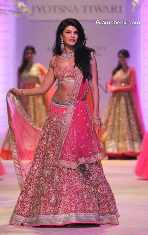 Jacqueline in Jyotsna Tiwari Bridal Pink Lehenga at India Bridal Fashion Week 2013