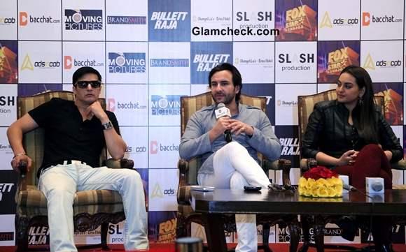 Jimmy Shergill Saif Ali Khan and Sonakshi Sinha at  press conference of Bullett Raja