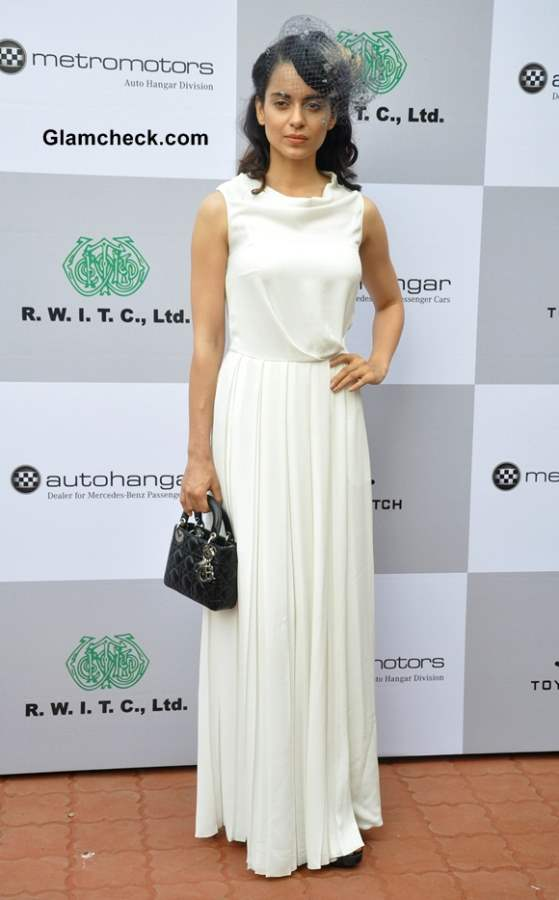 Kangana Ranaut Sports White Gown for a Day at the Races