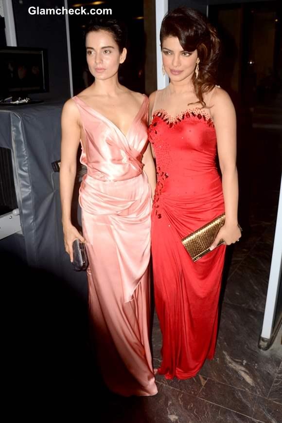 Kangana Ranaut and Priyanka Chopra at Hello Magazine Awards 2013