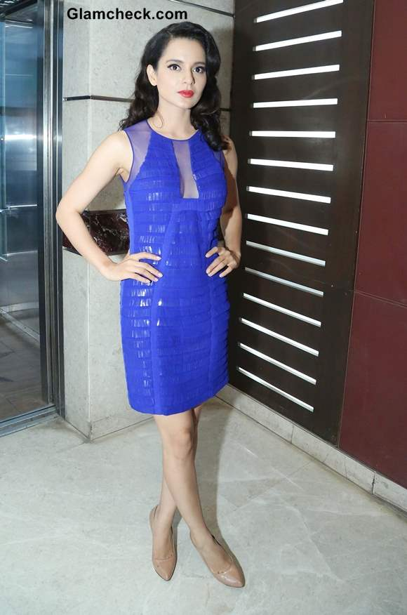 Kangana Ranaut in Blue Sequinned Dress at Rajjo Promo