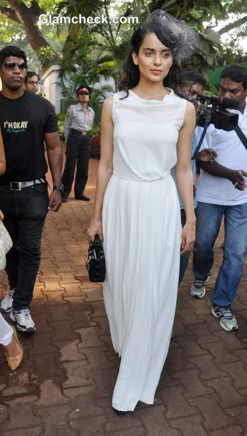 Kangana Ranaut in White Gown for a Day at the Races