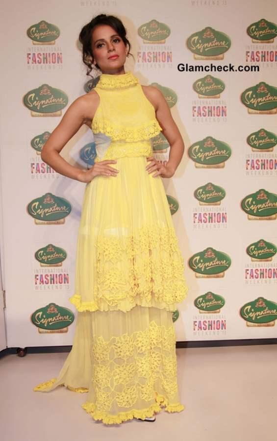 Kangana Ranaut in Yellow Gown  Bora Aksu Show at Signature International Fashion Week 2013