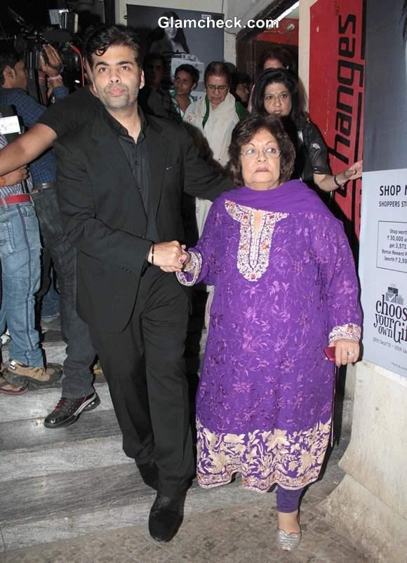 Karan Johar with his mother Hiroo Johar at Gori Tere Pyaar Mein Special Screening