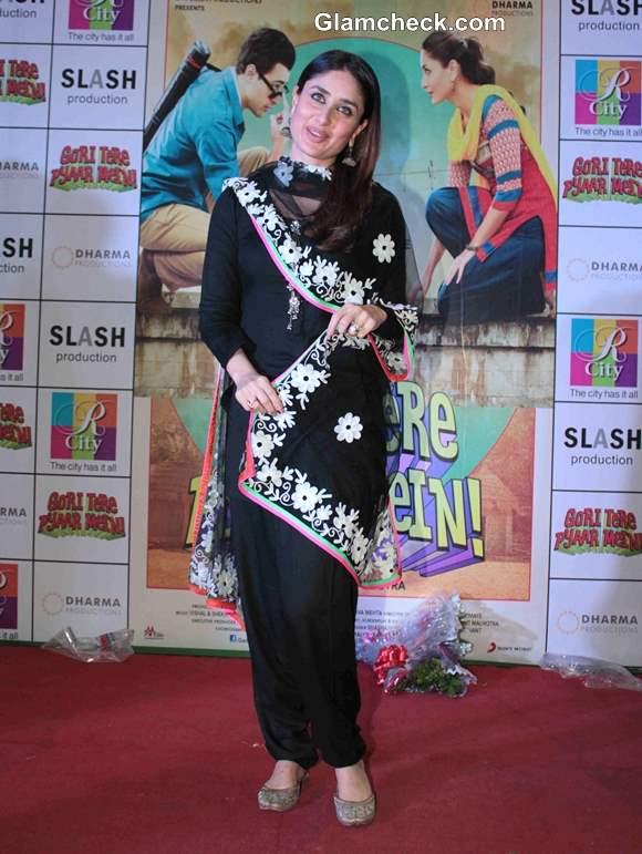 Kareena Kapoor 2013 Black Salwar Kameez at Gori Tere Pyaar Mein Promo
