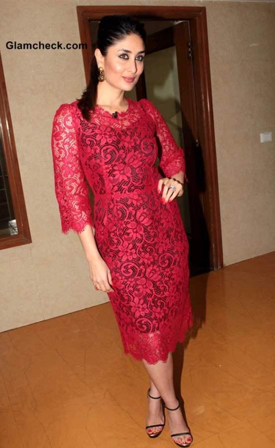 Kareena Kapoor Red Lace Dress 2013