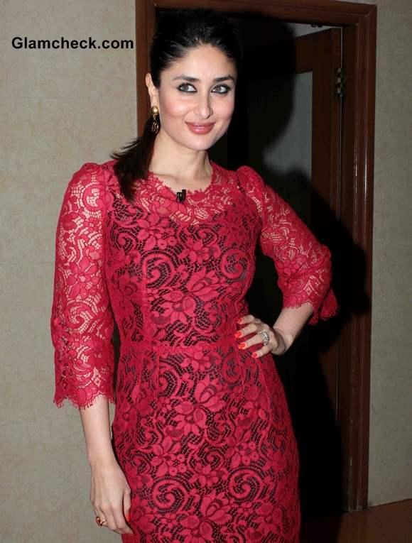 Kareena Kapoor in Red Lace Dress at Kaun Banega Crorepati