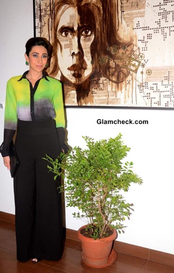 Karisma Kapoor in Green and Black outfit at Bal Disha Art Exhibition in Mumbai
