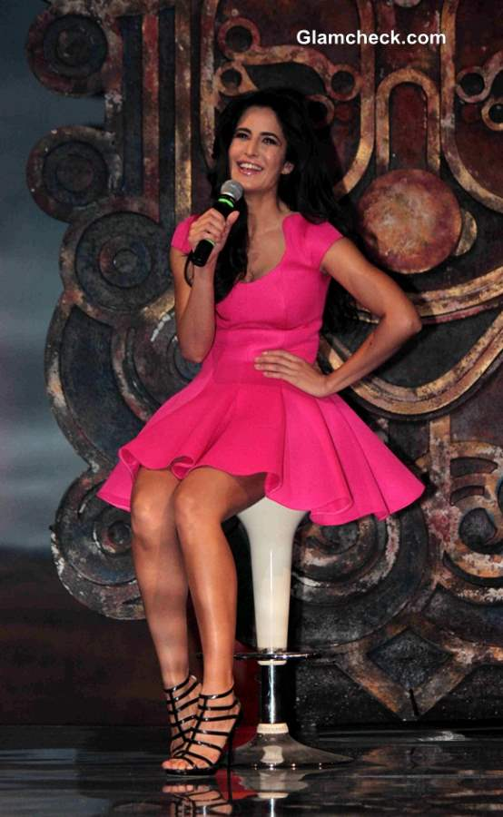 Katrina Kaif in Pink Dress at the Launch of Dhoom 3 Title Song