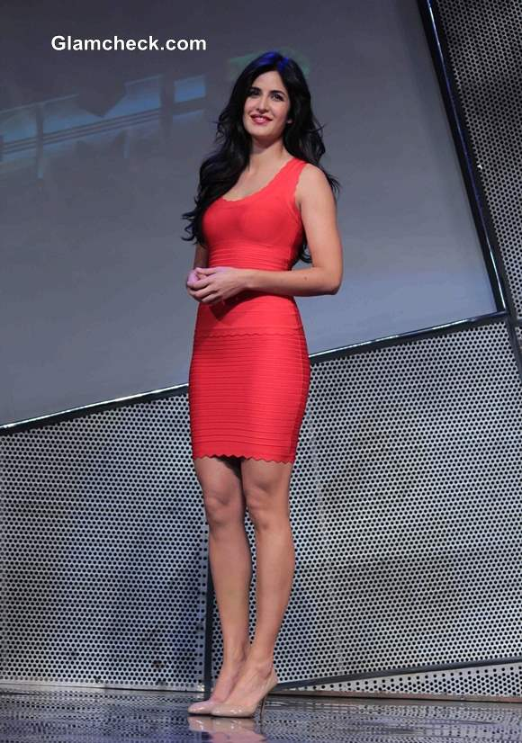 Katrina Kaif in Red Dress at Dhoom 3 Merchandise Launch