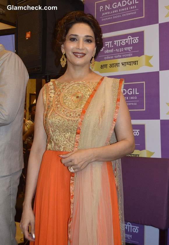 Madhuri Dixit Nene Astounds in Gorgeous Orange Anarkali Outfit