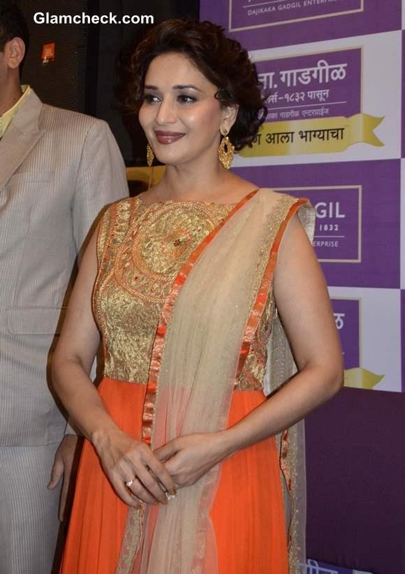 Madhuri Dixit in Orange Anarkali 2013