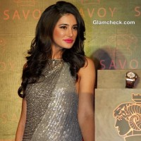 Nargis Fakhri 2013 in Rohit Gandhi and Rahul Khanna Silver Sequinned Gown