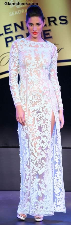 Nargis Fakhri in Pankaj and Nidhi White Gown at Blenders Fashion Pride Tour 2013