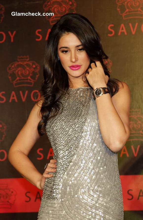 Nargis Fakhri in Rohit Gandhi and Rahul Khanna Sequinned Gown