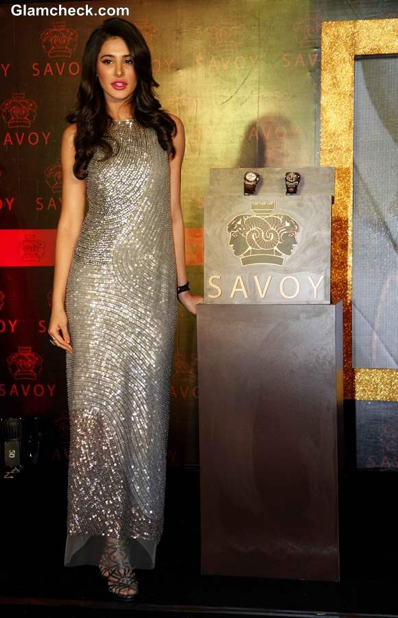 Nargis Fakhri in Rohit Gandhi and Rahul Khanna Silver Sequinned Gown