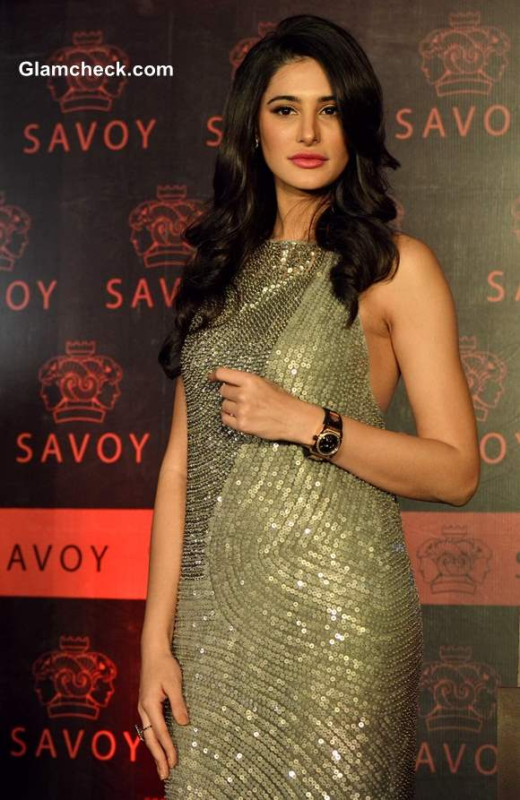 Nargis Fakhri in Silver Sequinned Gown