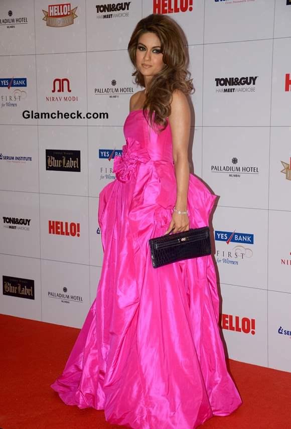 Natasha Poonawala in Fuchsia Gown at Hello Magazine Awards 2013