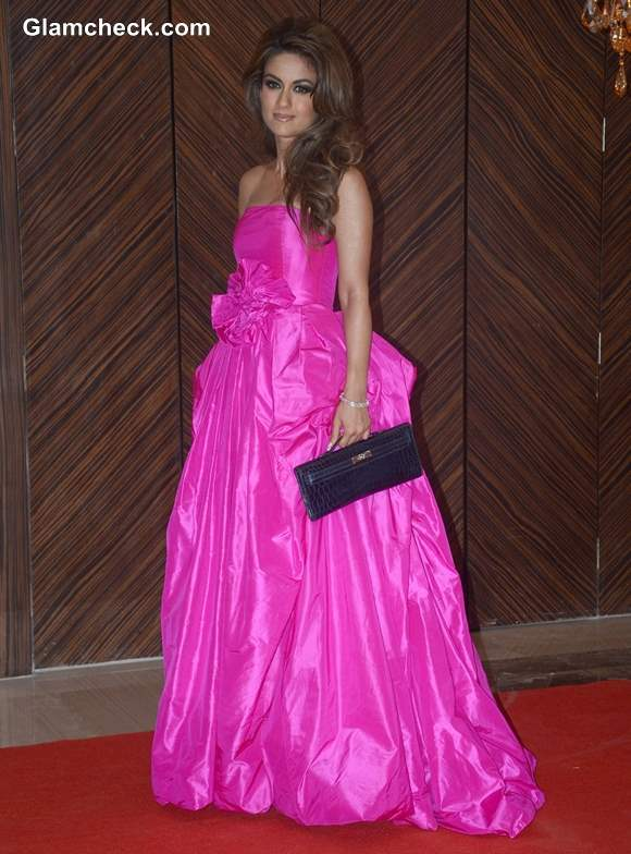 Natasha Poonawala in Fuchsia Princess Gown at Hello Magazine Awards 2013