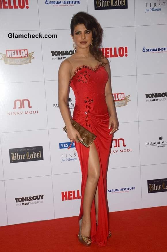 Priyanka Chopra In Red Gown at Hello Magazine Awards 2013