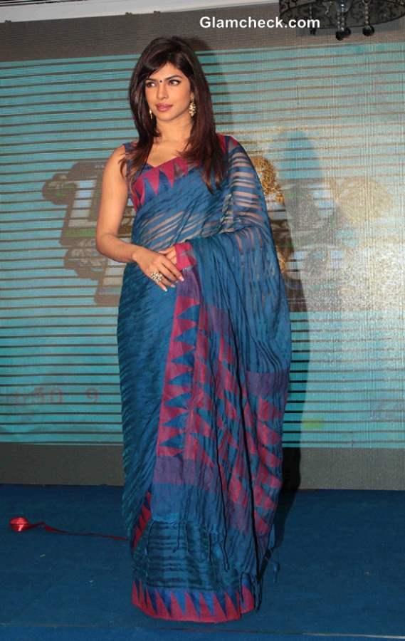 Priyanka Chopra in Blue Sari at Music Launch of Lucky Kabootar
