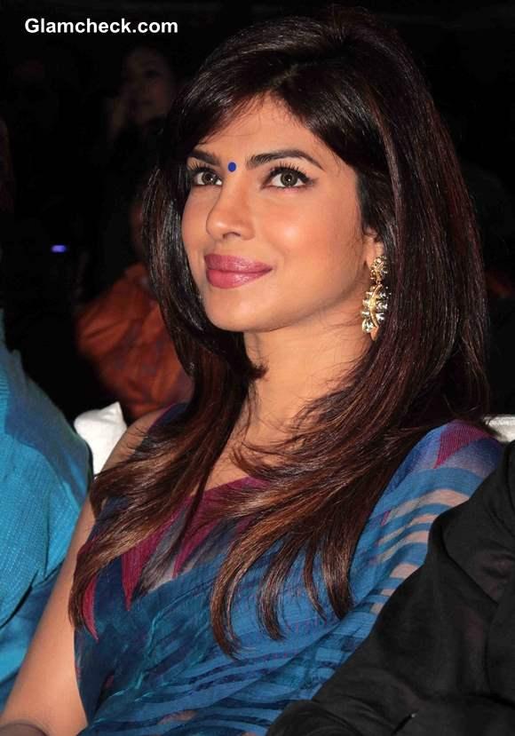 Priyanka Chopra in Blue Sari at Music Launch of Movie Lucky Kabootar