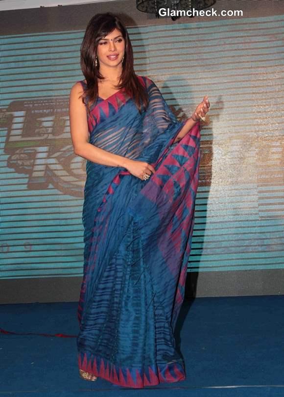 Priyanka Chopra in Blue Sari