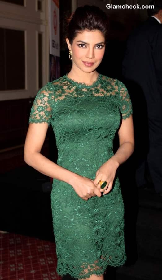 Priyanka Chopra in Emerald Lace Dress