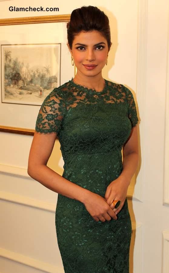 Priyanka Chopra in Lace Dress 2013