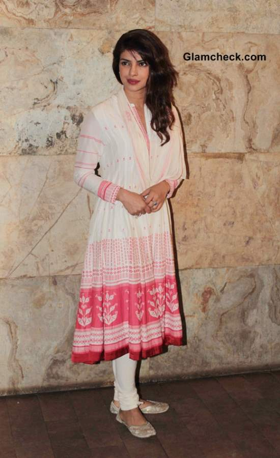 Priyanka Chopra in White Anarkali at Ram-Leela Screening