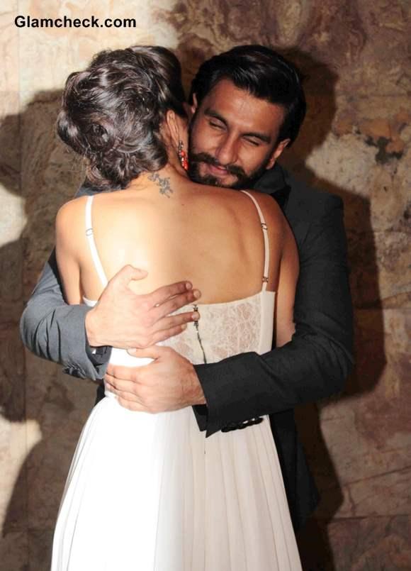 Ranveer Singh hugs Deepika Padukone during the screening of film Ram-Leela
