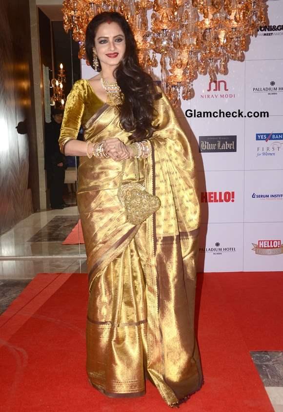 Rekha Dazzles in Gold Sari at 2013 Hello Magazine Awards