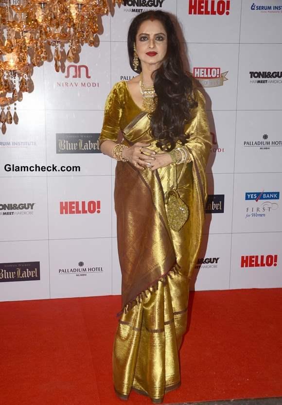 Rekha Dazzles in Gold Sari at Hello Magazine Awards 2013