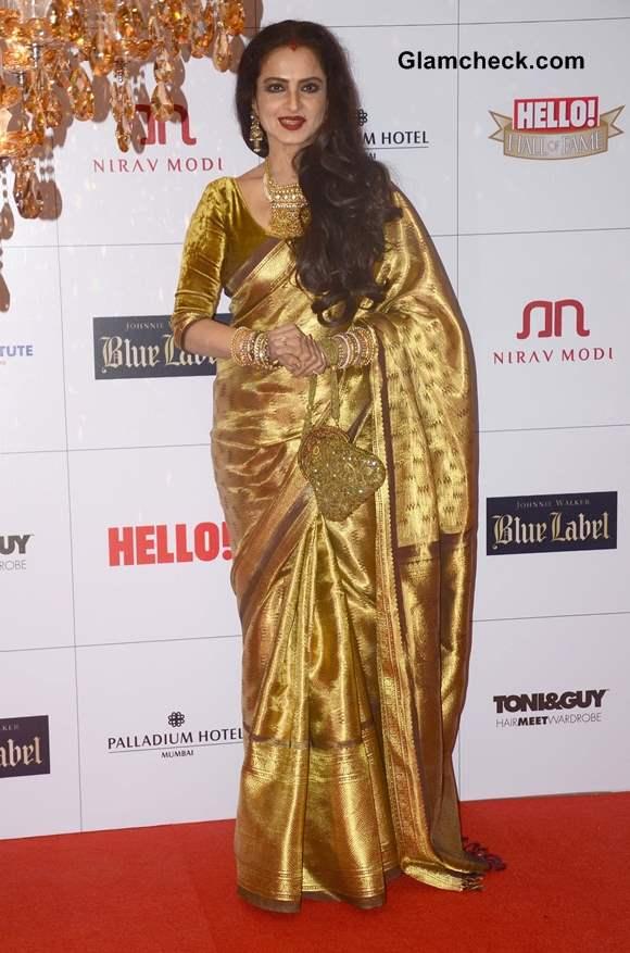 Rekha in Gold Sari at Hello Magazine Awards 2013